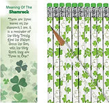 Meaning of The Shamrock St Patrick's Day Bookmarks with Shamrock Pencils (48 Pieces)