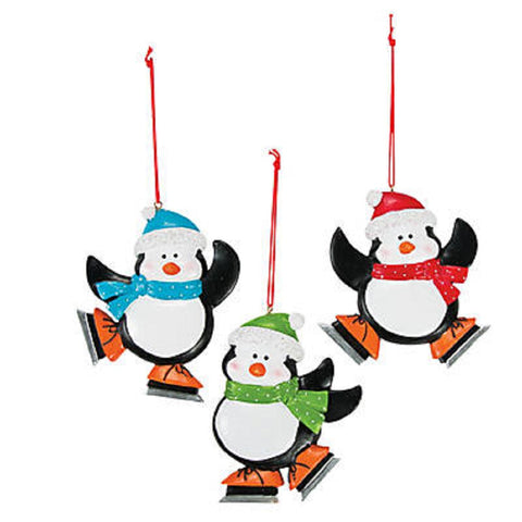 Skating Penguin Christmas Ornaments 12 Pack