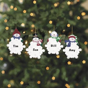 Snowman with Snowflake Christmas Ornaments 12 Pack
