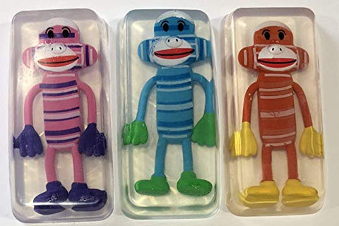 Sock Monkey Toy Embedded Kids Soap Bars Set of 3
