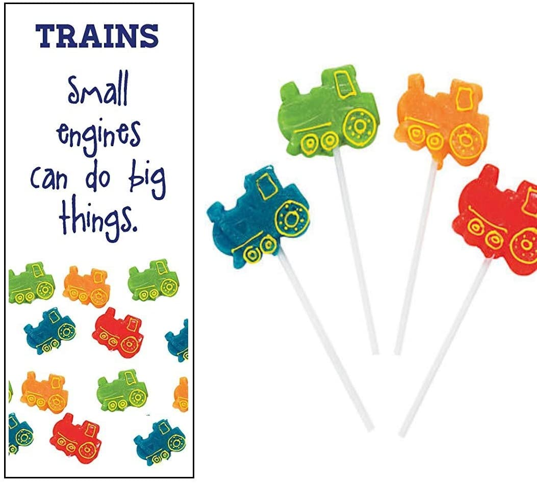 Train Party Supplies Lollipops Suckers with Bookmarks (12 Sets)