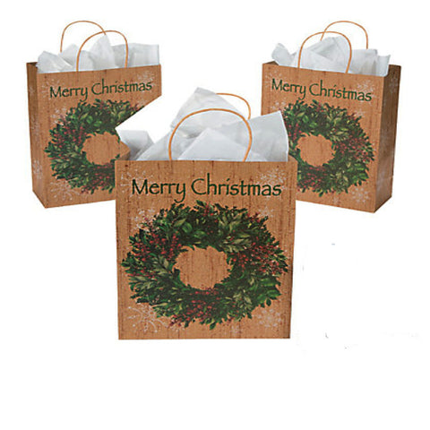 Large Merry Christmas Wreath Kraft Paper Gift Bags (12 Pack)