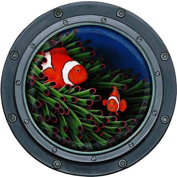 Clownfish Submarine Window Sea Life Wall Decal Sticker