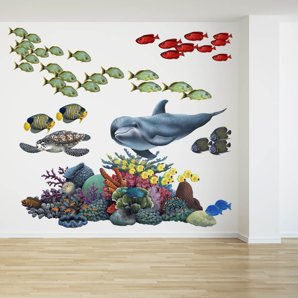 Transfer Stickers For Walls Coral Reef Tropical Fish Mural Wall Sticker Set Fills A