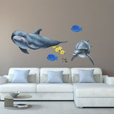 Dolphin Swimming Sea Life Wall Decal Sticker