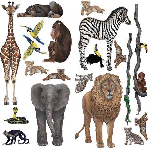 Jungle Collection Economy Size Wall Decals Stickers Combo