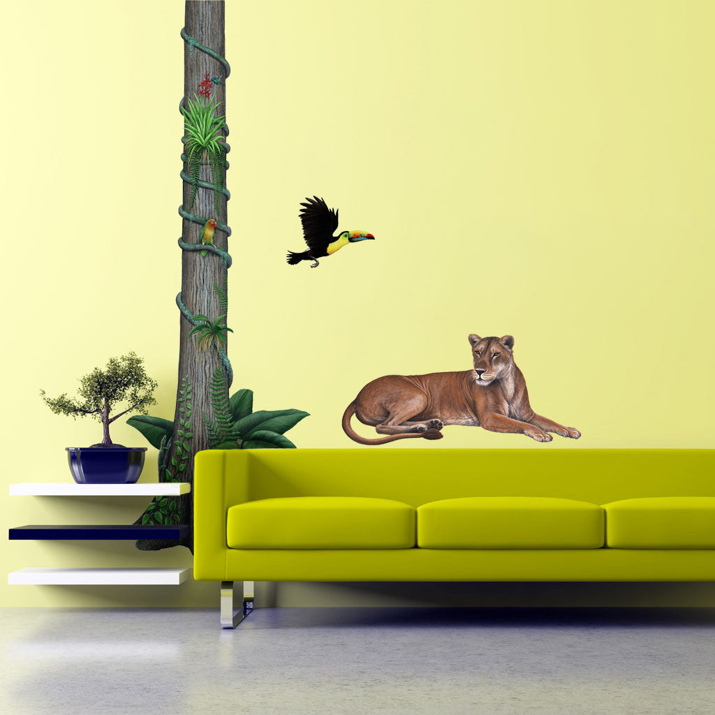 giant lioness wall sticker see how you can create a jungle friends wall stickers by roommates room mates peel