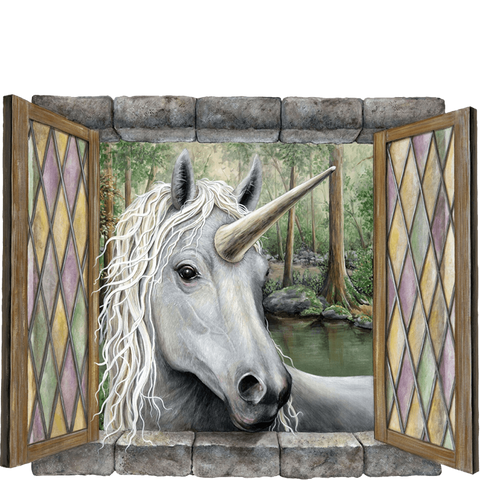 Unicorn Visitor Fantasy Wall Decal Sticker