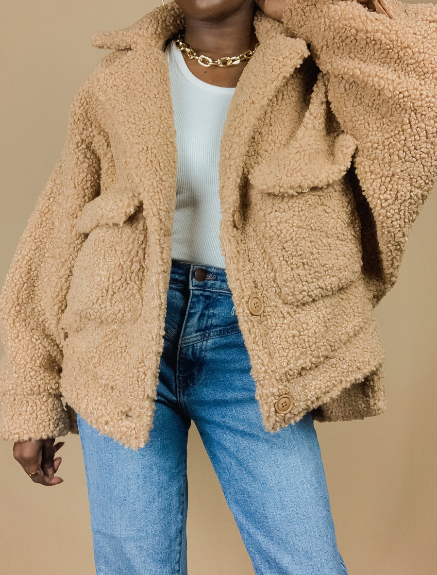 taupe front pocket collar teddy jacket