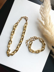 gold metal chain link necklace and bracelet set