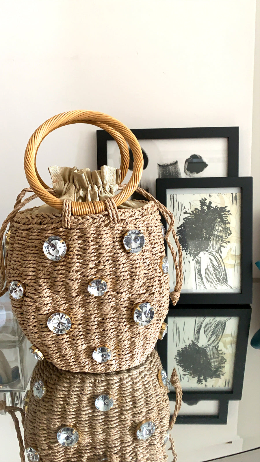 crystal embellished natural straw drawstring bag
