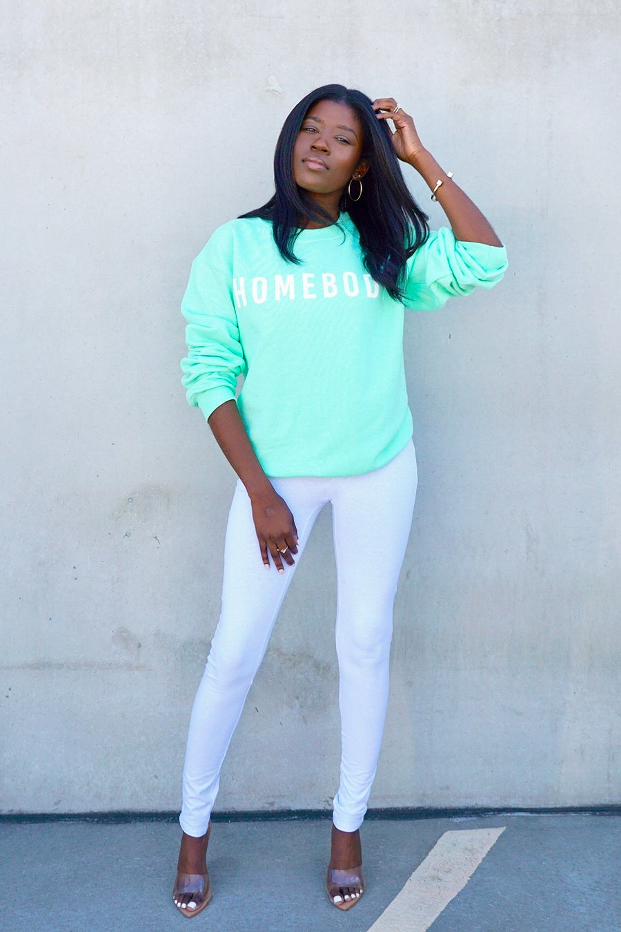 mint green long sleeve pullover homebody graphic sweatshirt