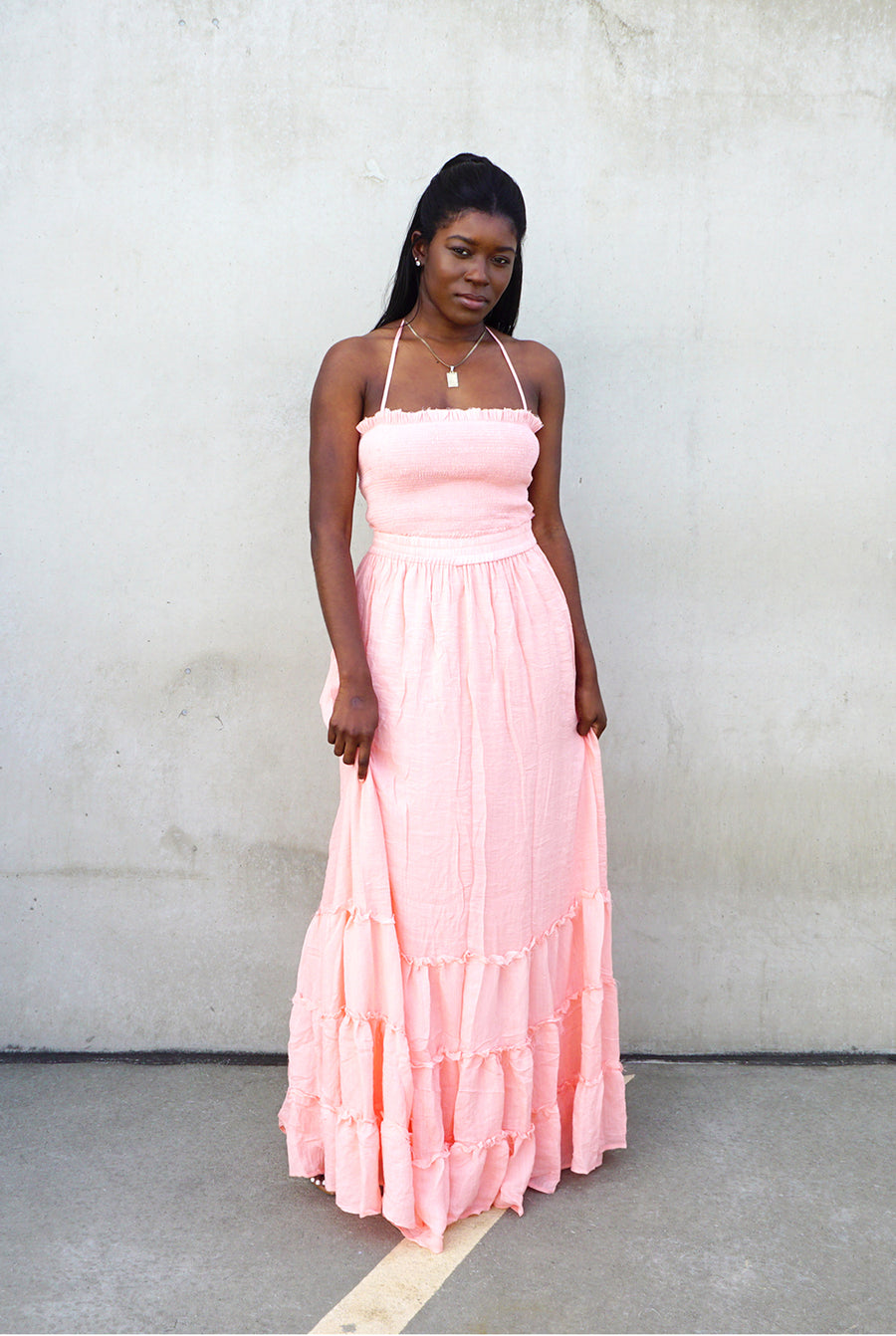 pink smocked tube top halter pleated maxi dress