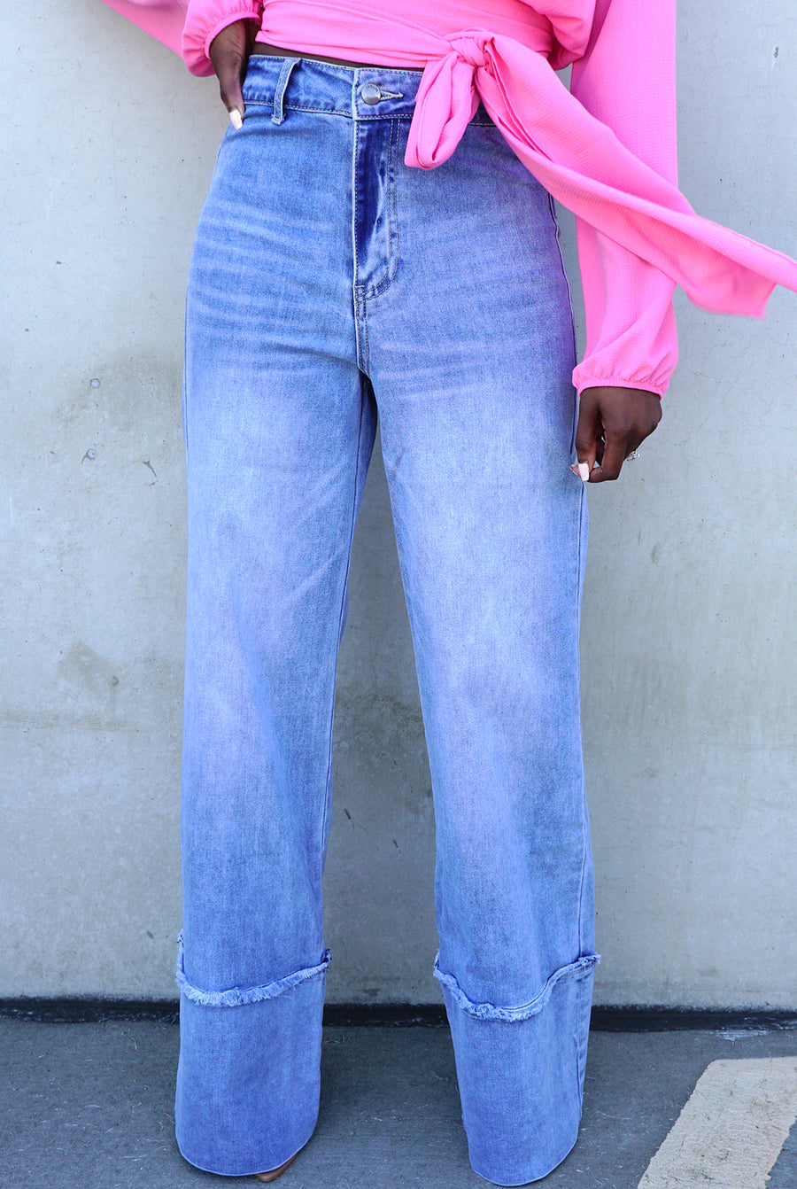 light blue medium wash wide leg denim jeans