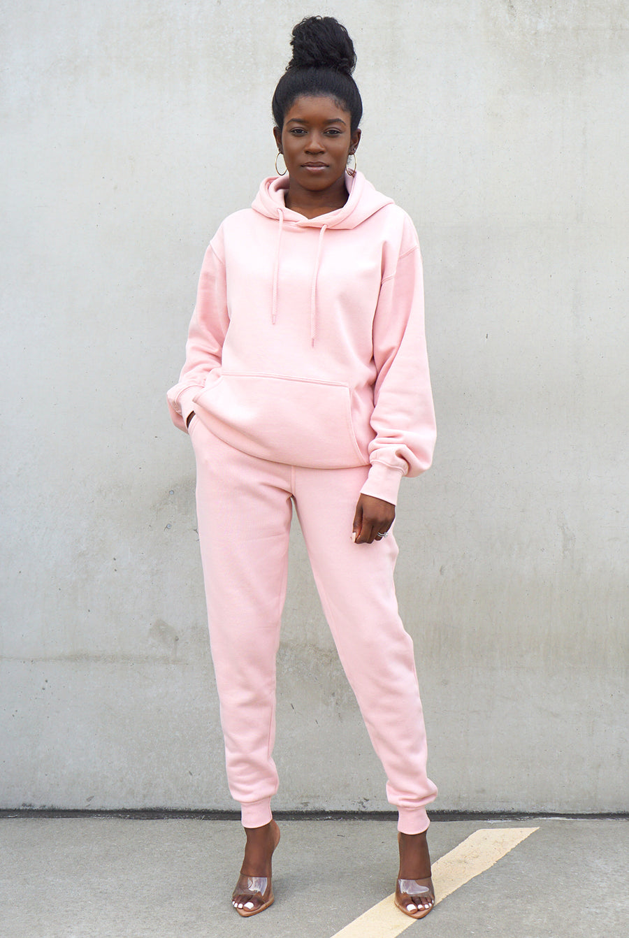 blush pink fleece drawstring pullover pocket hoodie drawstring joggers