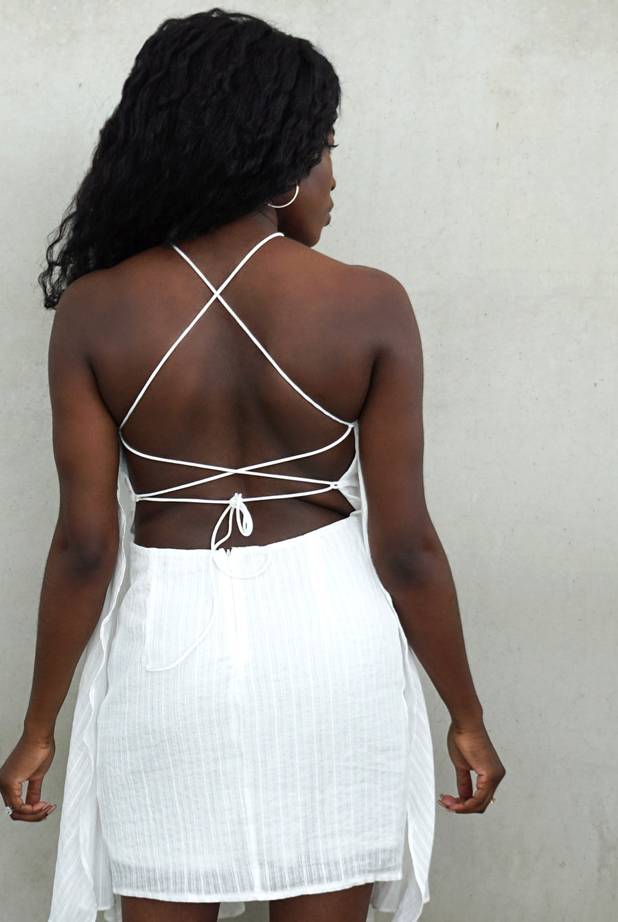 white open back lace up flowy mini dress