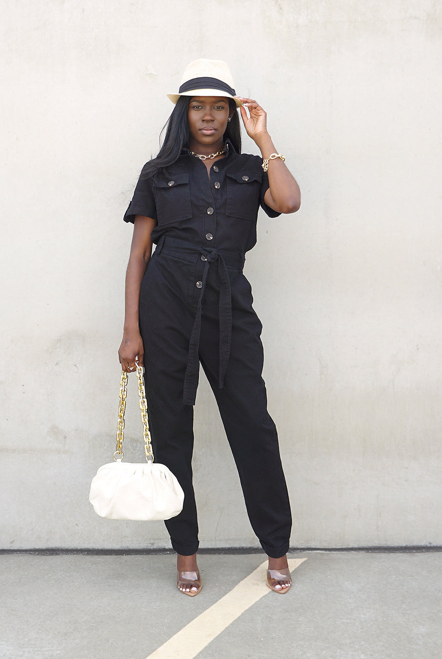 black belted denim short sleeve jumpsuit