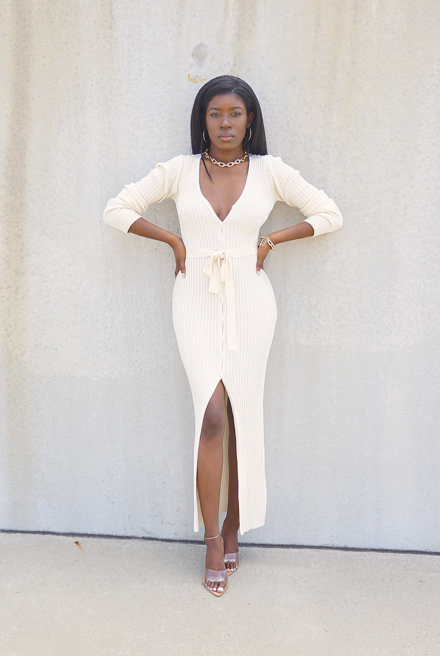 ivory ribbed knit belted long sleeve sweater dress