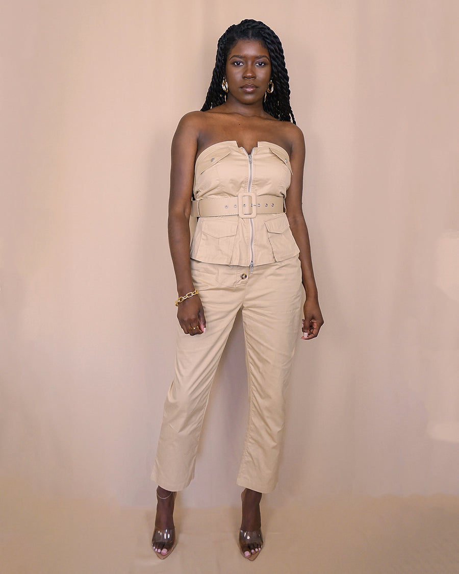 khaki strapless belted utility top matching high waist ankle cropped pants