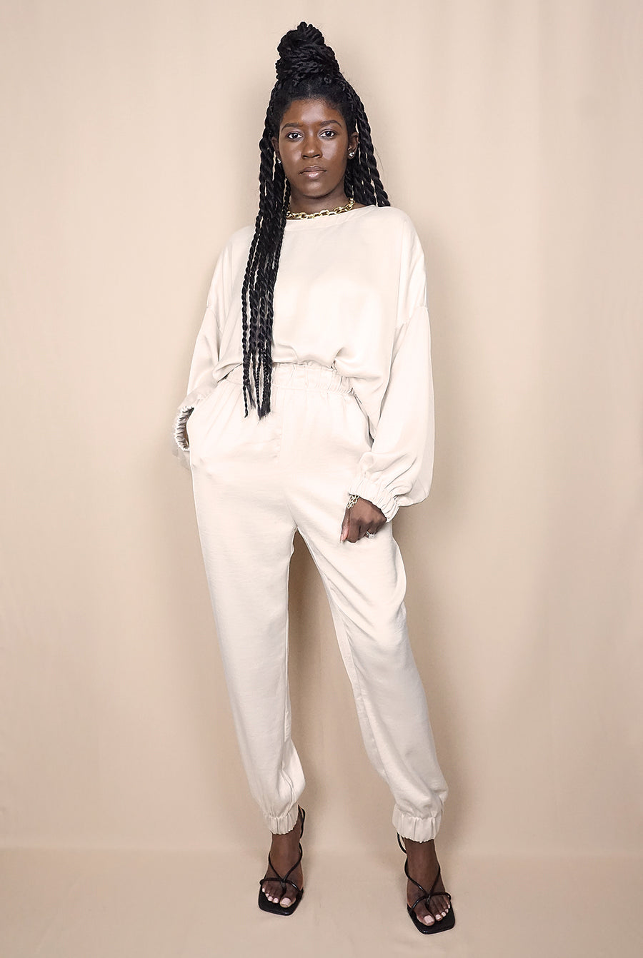 ivory silky long sleeve top elastic jogger set