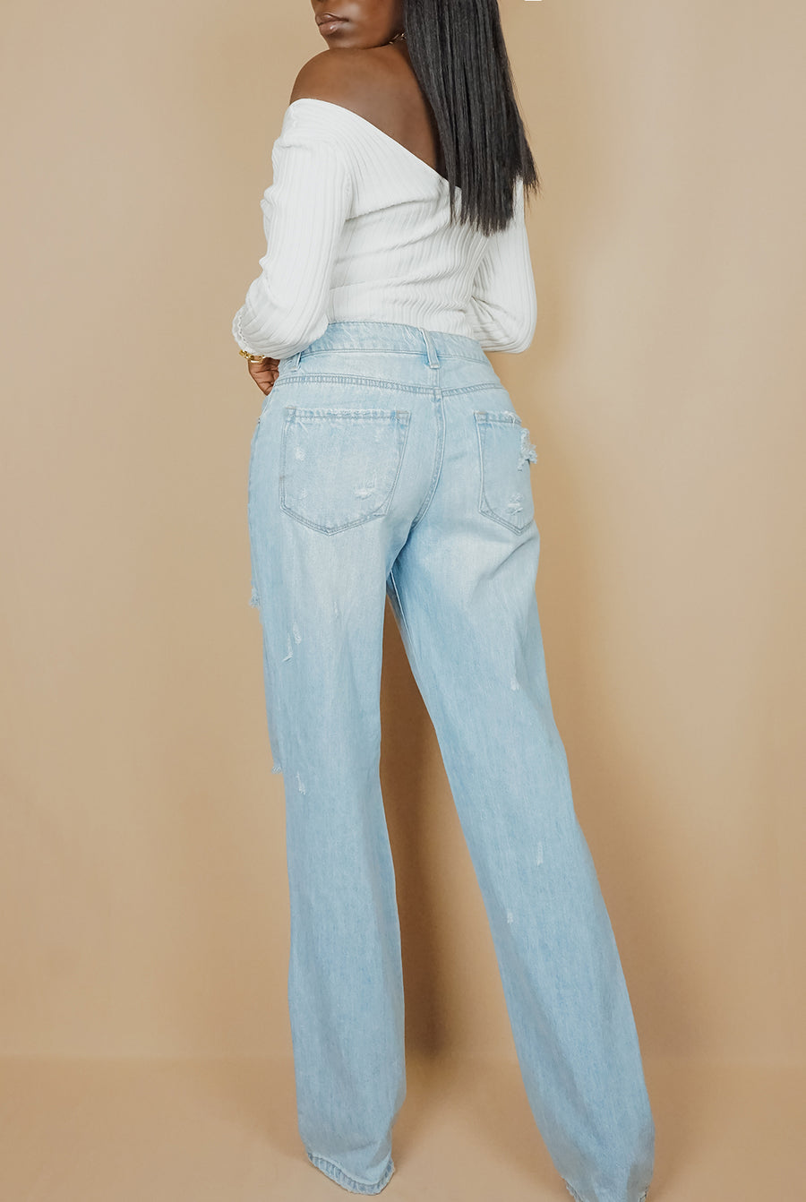 distressed straight leg light wash blue denim jeans