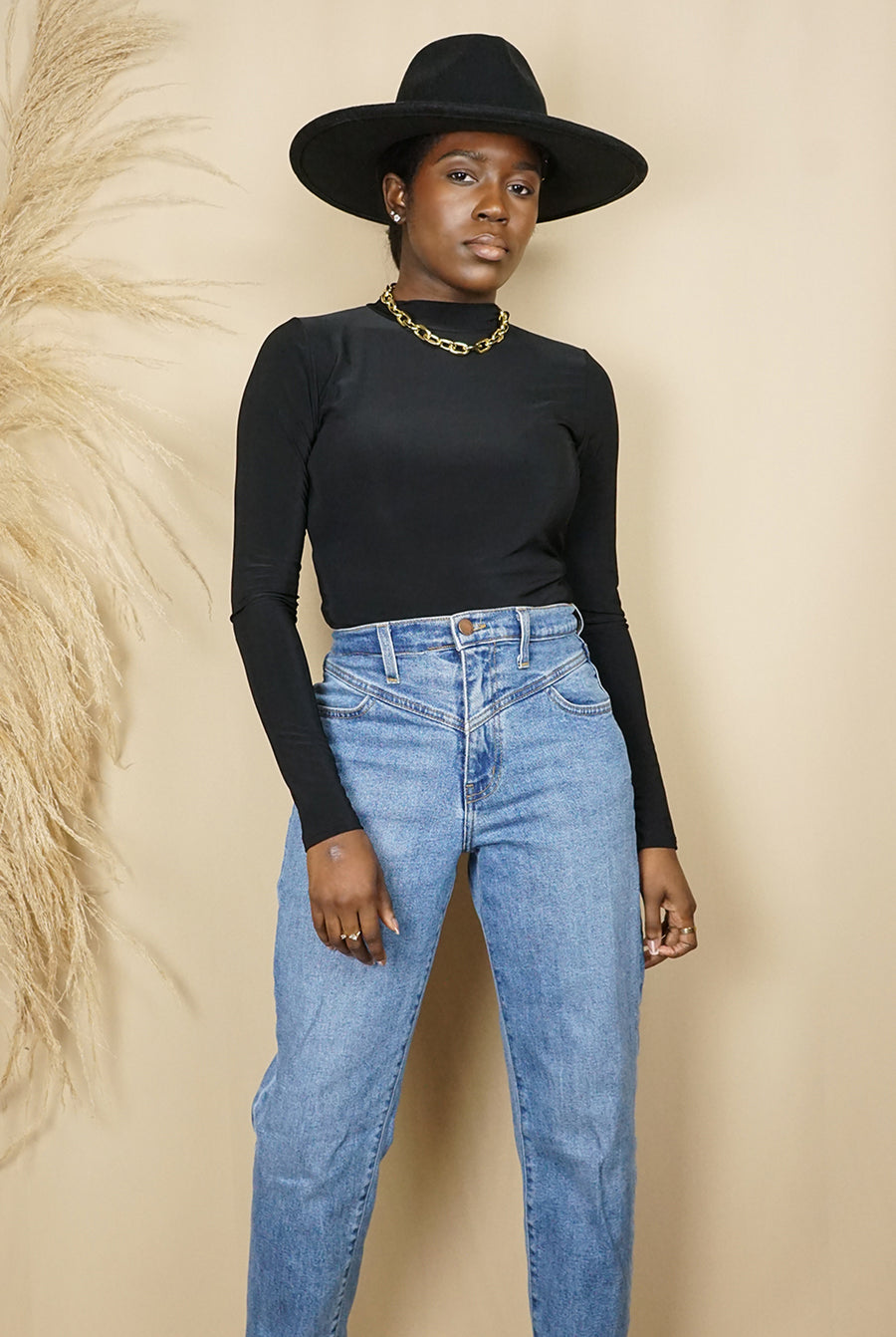 black long sleeve mock neck bodysuit