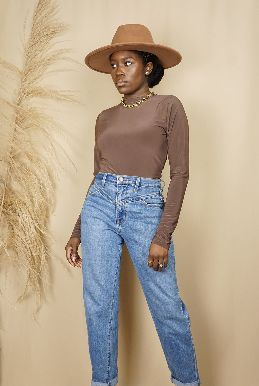 mocha brown long sleeve mock neck bodysuit