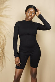 black long sleeve short bodysuit