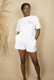 white short sleeve pj short set