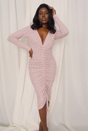 pink knit long sleeve tie front ruched dress