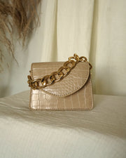 taupe croco embossed vegan leather mini chain bag