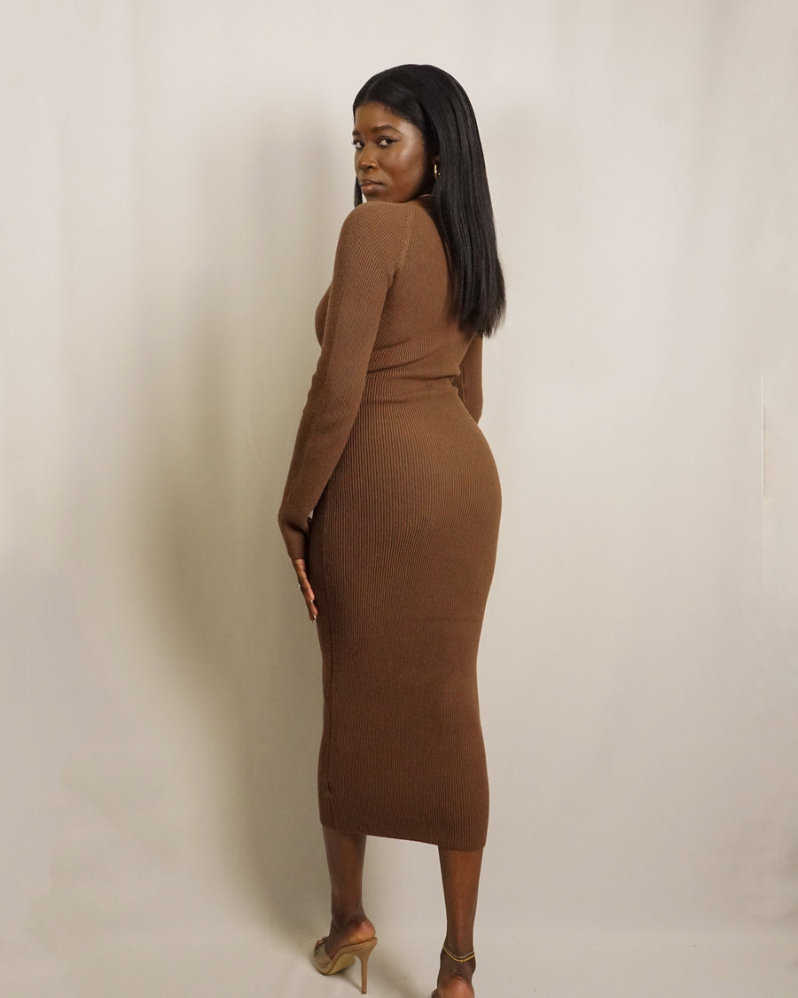 cocoa chocolate brown knit sweetheart long sleeve midi dress