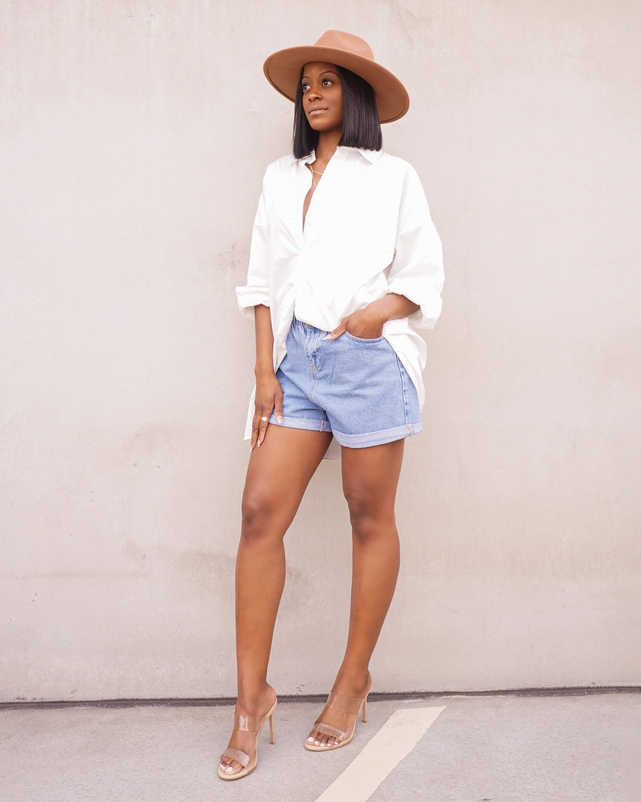 white oversized cotton button up shirt