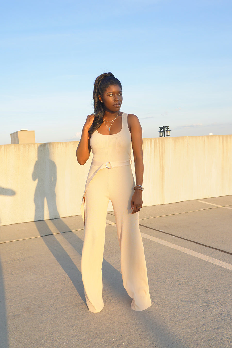 Ribbed Knit Cargo Jumpsuit - FINAL SALEClothes, Rompers & JumpsuitsGreige - Greige