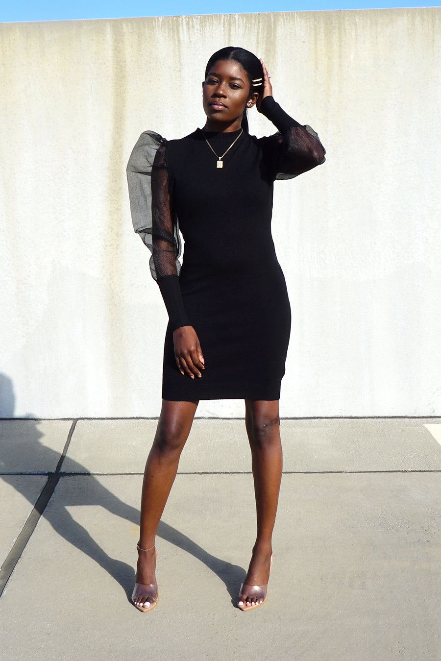 Mesh Puff Sleeve Knit Dress - Black