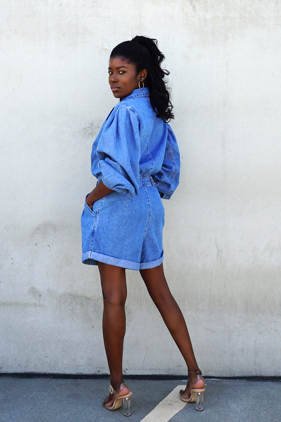 blue denim puff sleeve short romper