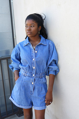 Ruffle Denim Mini Dress-FINAL SALE