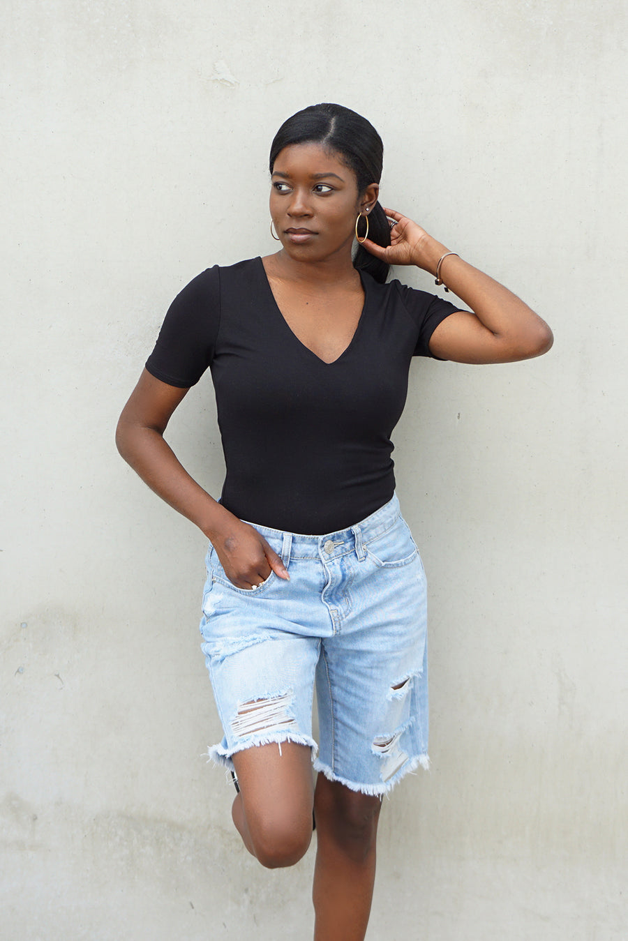 black v-neck short sleeve t-shirt bodysuit