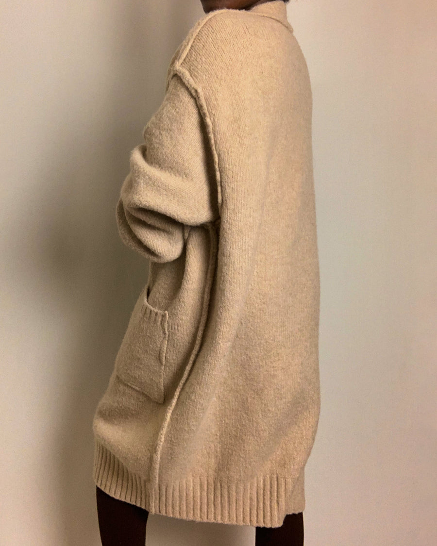 taupe oversized knit cardigan with pockets