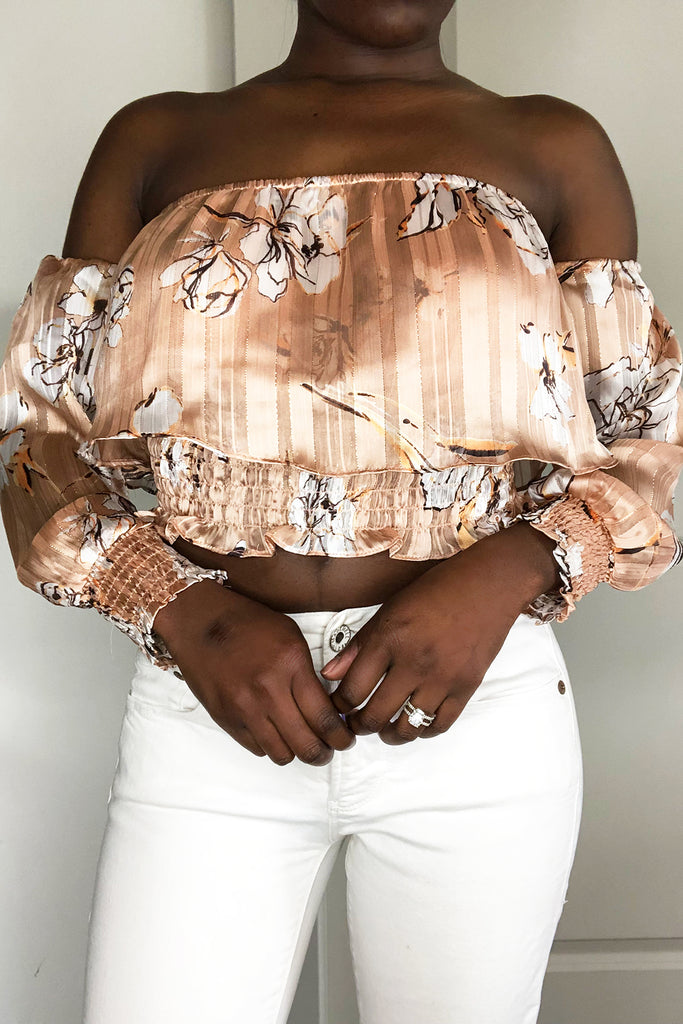 Floral Off The Shoulder Top-FINAL SALEClothes, TopsGreige - Greige