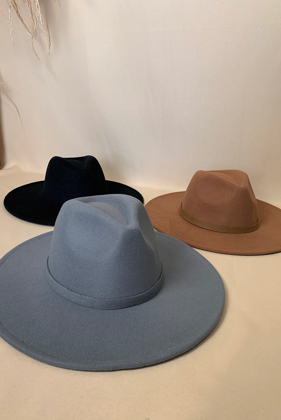 grey felt fedora hat