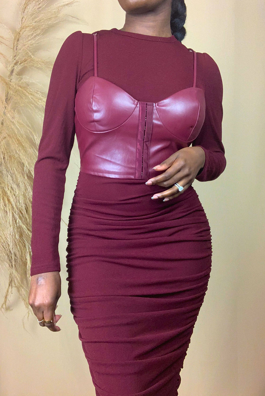 wine faux leather corset ruched midi length dress