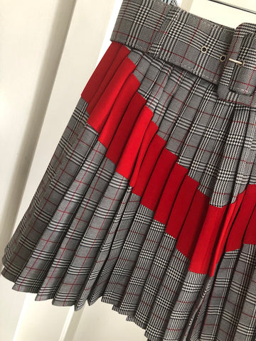 Stripe Plaid Skirt-FINAL SALEClothes, SkirtsGreige - Greige