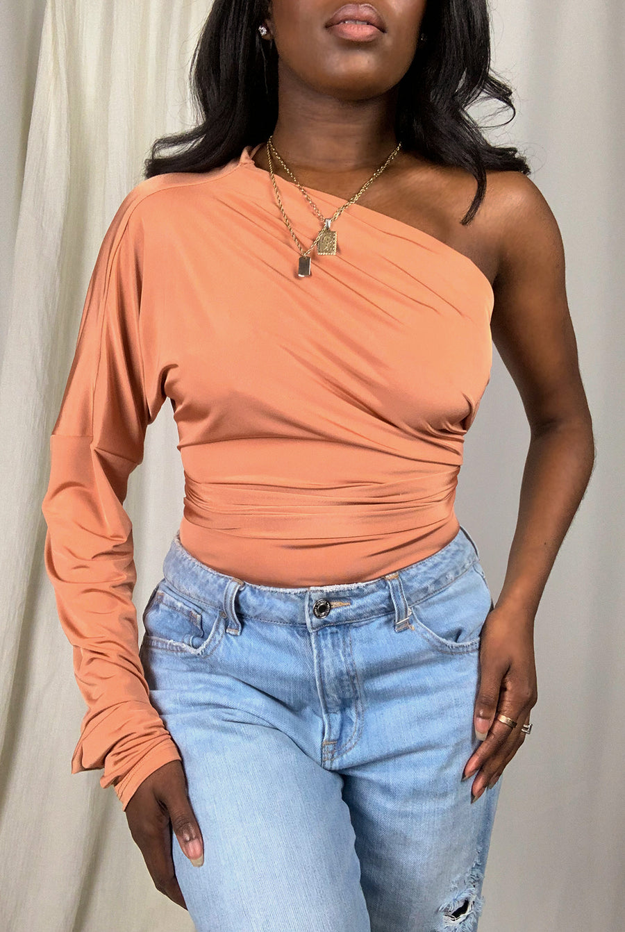 peach long sleeve multi wrap off the shoulder bodysuit