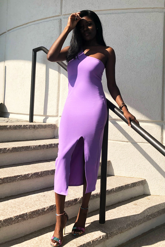 Knit One Shoulder Slit Midi Dress-FINAL SALEClothes, DressesGreige - Greige