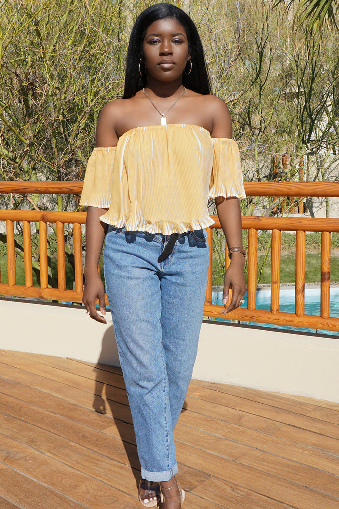 Pleated Off The Shoulder TopClothes, TopsGreige - Greige