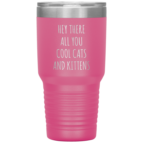 Hey There All You Cool Cats and Kittens Mug Funny Tumbler Insulated Travel Coffee Cup 30oz BPA Free