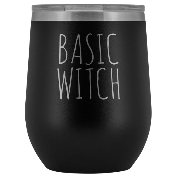 Basic Witch Halloween Wine Tumbler Funny Fall Gifts for Friends Stemless Insulated Hot Cold BPA Free 12oz Travel Sippy Cup