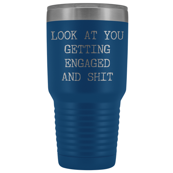 Funny Engagement Gifts Look at You Getting Engaged Tumbler Metal Mug Insulated Hot Cold Travel Coffee Cup 30oz BPA Free