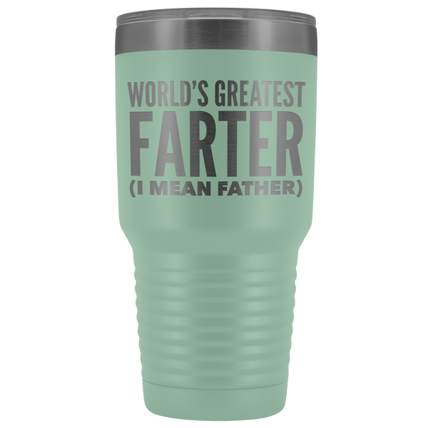 World's Greatest Farter Father Tumbler Funny Father's Day Gifts for Dad Joke Gift Idea Double Wall Insulated Hot Cold Travel Cup 30oz BPA Free